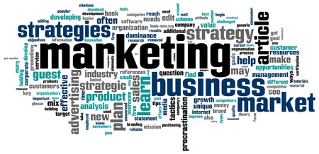 A word cloud with marketing related keywords