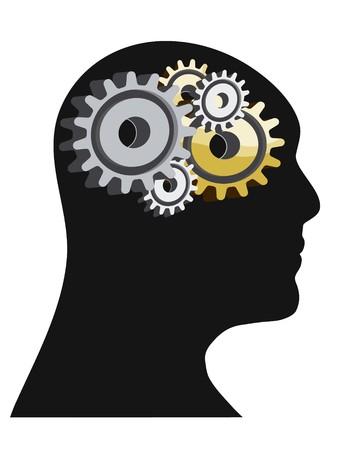 innen: Abstract Illustration eines menschlichen Kopfes mit Getriebe