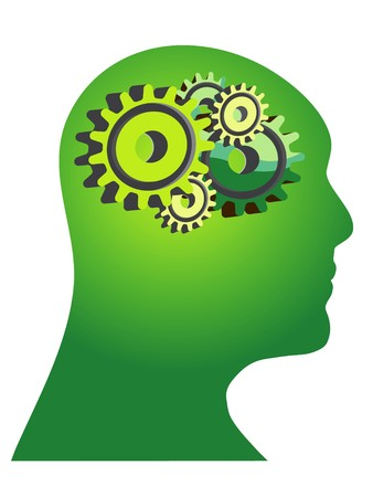 free thought: Abstract illustration of a green human head with gears