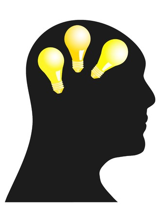Abstract illustration of a human head with light bulbs Vector