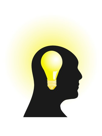 Abstract illustration of a human head with burning light bulb Vector