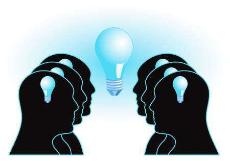decision: Illustration with people and light bulb :: Teamwork and brainstorming concept