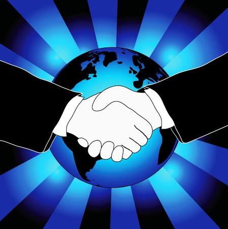 mani che si stringono: Illustra una stretta di mano con il globo mondiale in background, tema di collaborazione del business internazionale Vettoriali