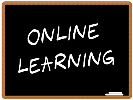 learn: illustration of a chalkboard with the text ONLINE LEARNING