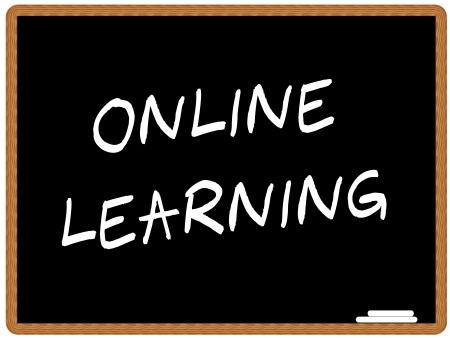 educaci�n en l�nea: Ilustraci�n de una pizarra con el texto ONLINE LEARNING  Vectores