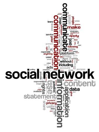 social networking: illustrazione della parola nube con parole di concetto di networking sociale