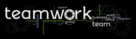 collaborating together: A banner with words promoting business teamwork, cooperation, and success through working together. Illustration