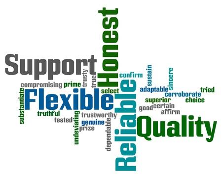 onestà: Word cloud con parole di assistenza, qualit�, flessibilit�, onesti e affidabili Vettoriali