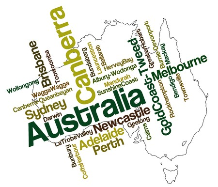 gold coast: Australia map and words cloud with larger cities