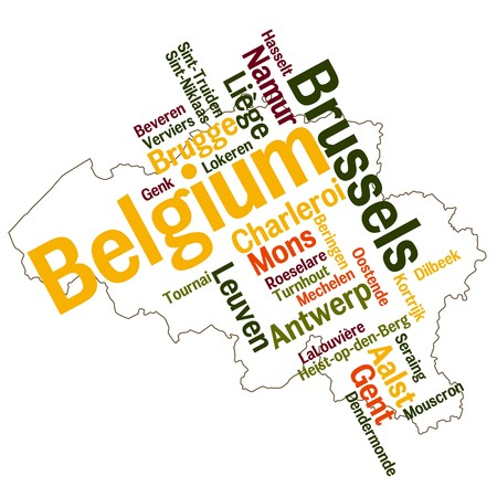 belgie: België kaart en woorden wolk met grotere steden Stock Illustratie
