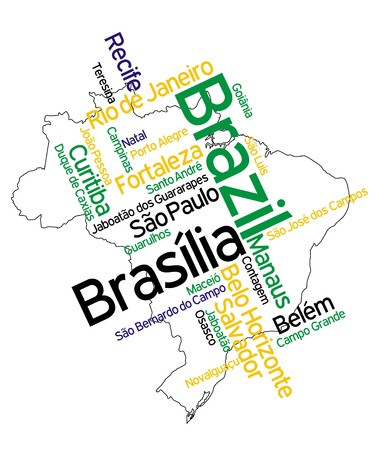 brasilia: Brazil map and words cloud with larger cities Illustration