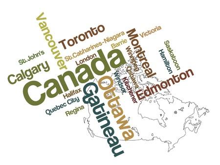 メトロポリス: 大都市でカナダ地図と単語雲  イラスト・ベクター素材