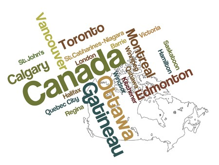 Canada map and words cloud with larger cities