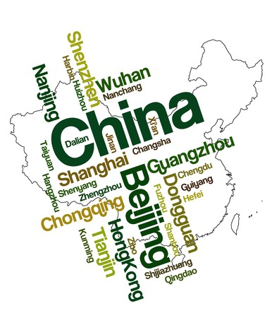 China map and words cloud with larger cities
