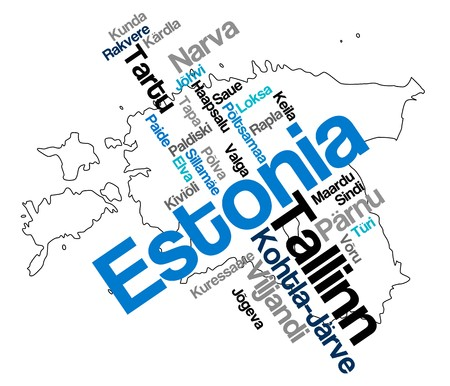 european cities: Estonia map and words cloud with larger cities Illustration