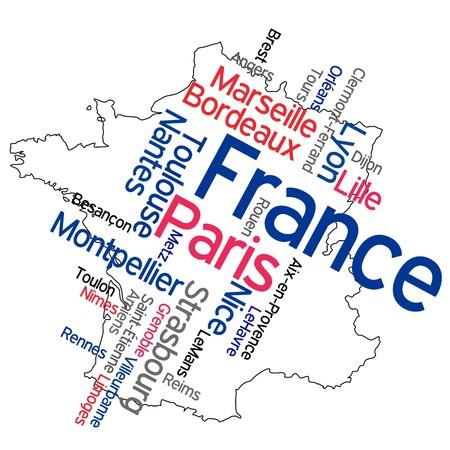 francia: Nube de mapa y palabras de Francia con las ciudades m�s grandes  Vectores
