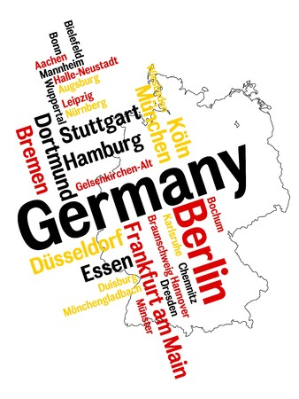 Germany map and words cloud with larger cities Illustration