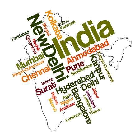インド: 大都市のインド地図と単語雲