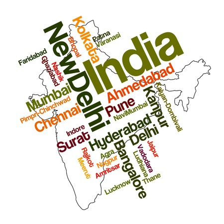 politics: India map and words cloud with larger cities