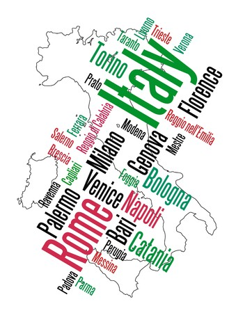 european cities: Italy map and words cloud with larger cities