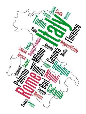 florence italy: Nuvola di parole e Mappa Italia con grandi citt�