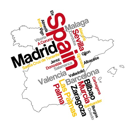 Spain map and words cloud with larger cities Illustration