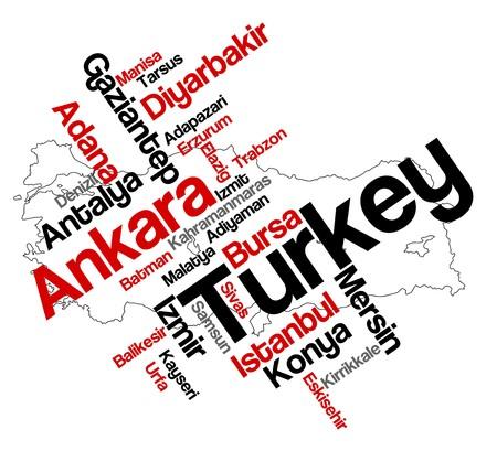 turkey istanbul: Nuvola di parole e mappa Turchia con grandi citt� Vettoriali