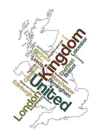 edinburgh: Vereinigtes K�nigreich-Karte und Worten Cloud mit gr��eren St�dten