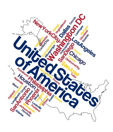 US map and words cloud with larger cities Vector