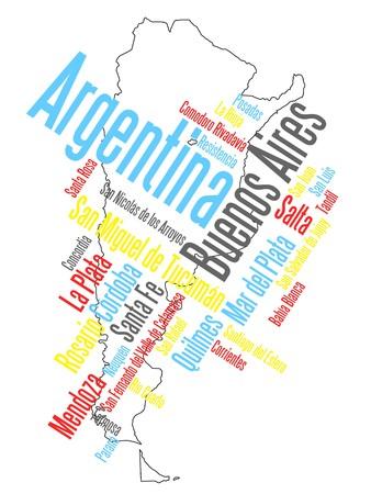 mapas conceptuales: Mapa de dise�o de Argentina y el texto con las principales ciudades