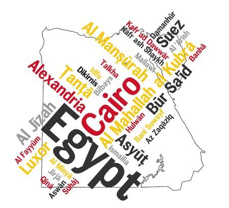 mapas conceptuales: Mapa de dise�o de Egipto y el texto con las principales ciudades