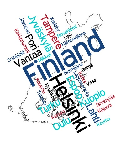 Финляндия: Map of Finland and text design with major cities