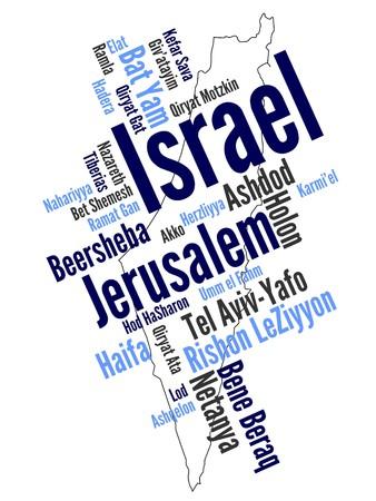 jeruzalem: Kaart van Israël en tekst ontwerp met grote steden
