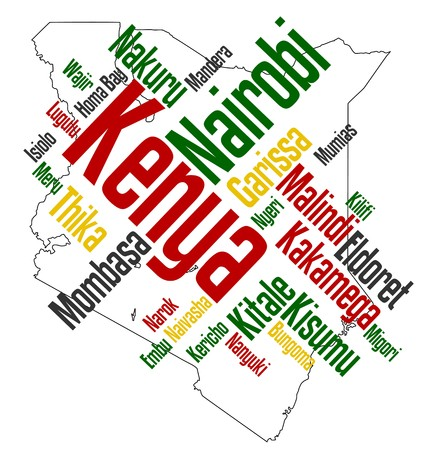 Map of Kenya and text design with major cities Vector