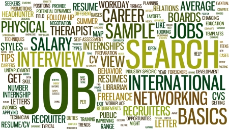 Wordcloud with conceptual job search related words Vector