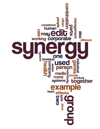 Synergy and teamwork related terms in a wordcloud Vector