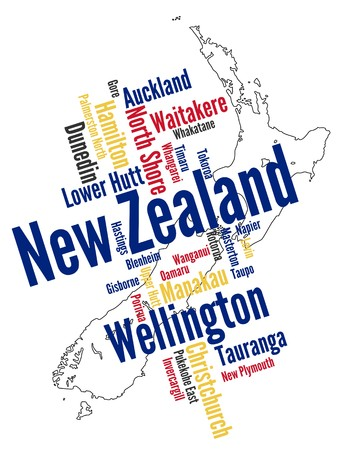 New Zealand map and words cloud with larger cities Stock Vector - 8130463