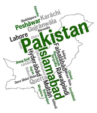 メトロポリス: パキスタン地図と単語雲の大きい都市と  イラスト・ベクター素材