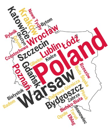 Poland map and words cloud with larger cities Illustration