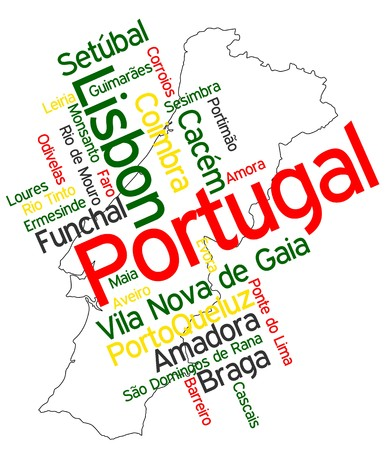 Portugal map and words cloud with larger cities Vector