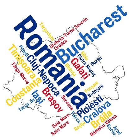 メトロポリス: 大きい都市とルーマニア マップと単語雲