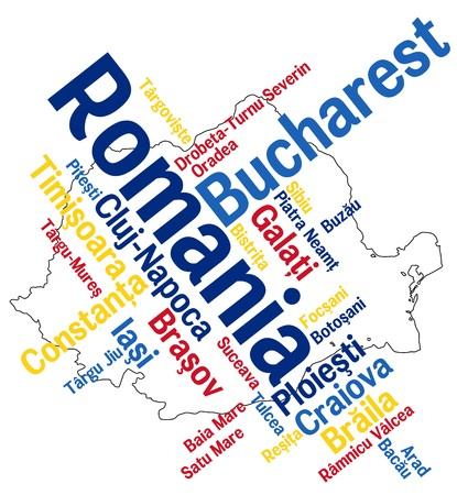 european cities: Romania map and words cloud with larger cities Illustration
