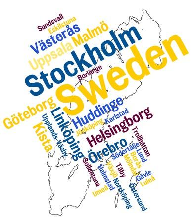 メトロポリス: スウェーデン地図と単語雲の大きい都市と  イラスト・ベクター素材
