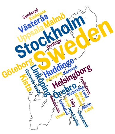sweden map: Sweden map and words cloud with larger cities
