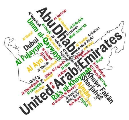 UAE map and words cloud with larger cities Vector