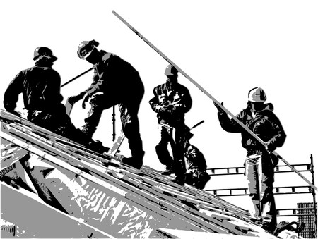 Illustration of team of construction workers on the roof Vector
