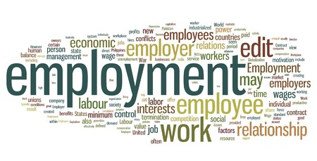 employment issues: Collection of employment related words for design projects Illustration