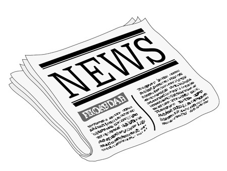 object print: An illustration of a newspaper, isolated on a white background