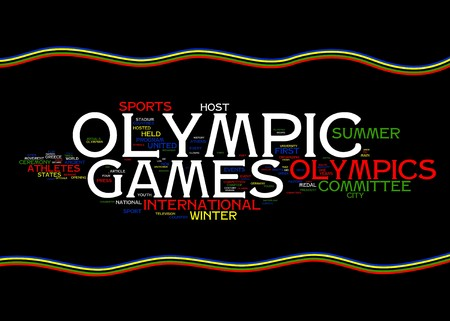 Olympic Games related words with olympic flag colors on black background Stock Photo - 8252906