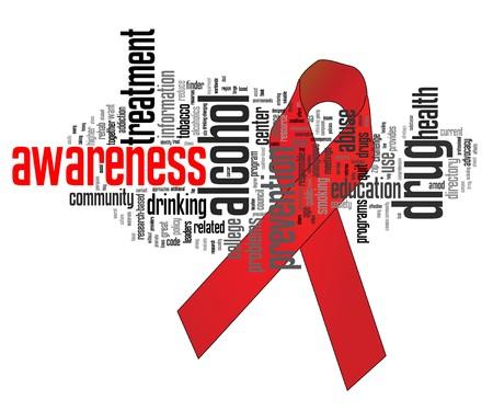 drogue: Ruban de sensibilisation aux abus de substance avec les mots cl�s connexes